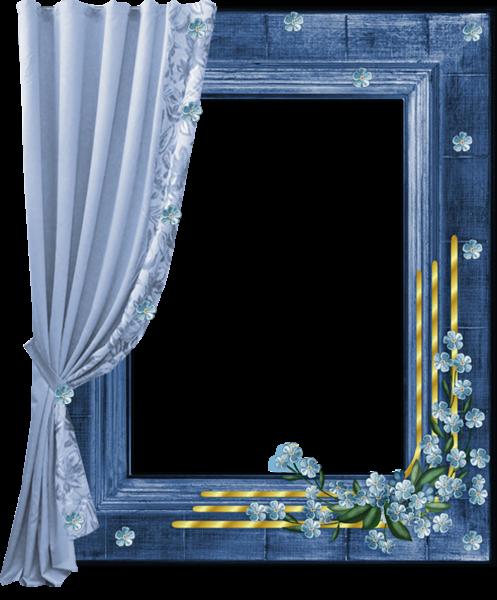 Blue transparent png frame with curtain stationnaire - Cadre photo transparent plastique ...