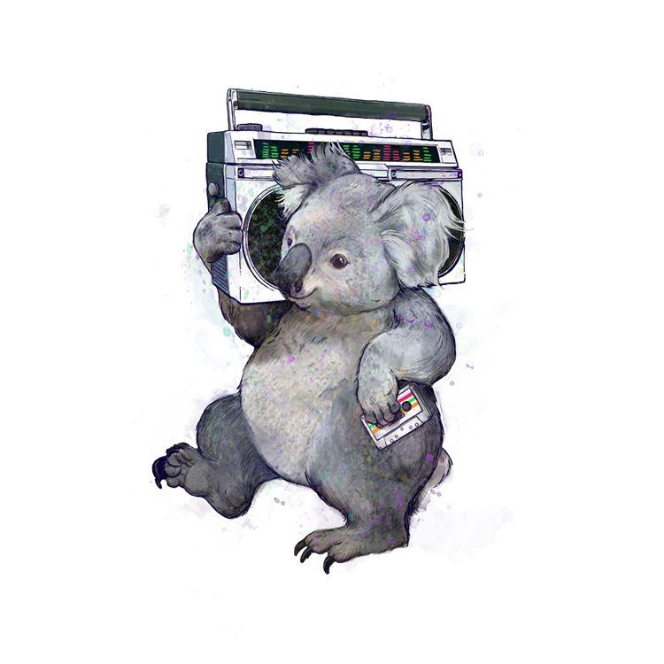retro koala print by Laura Graves