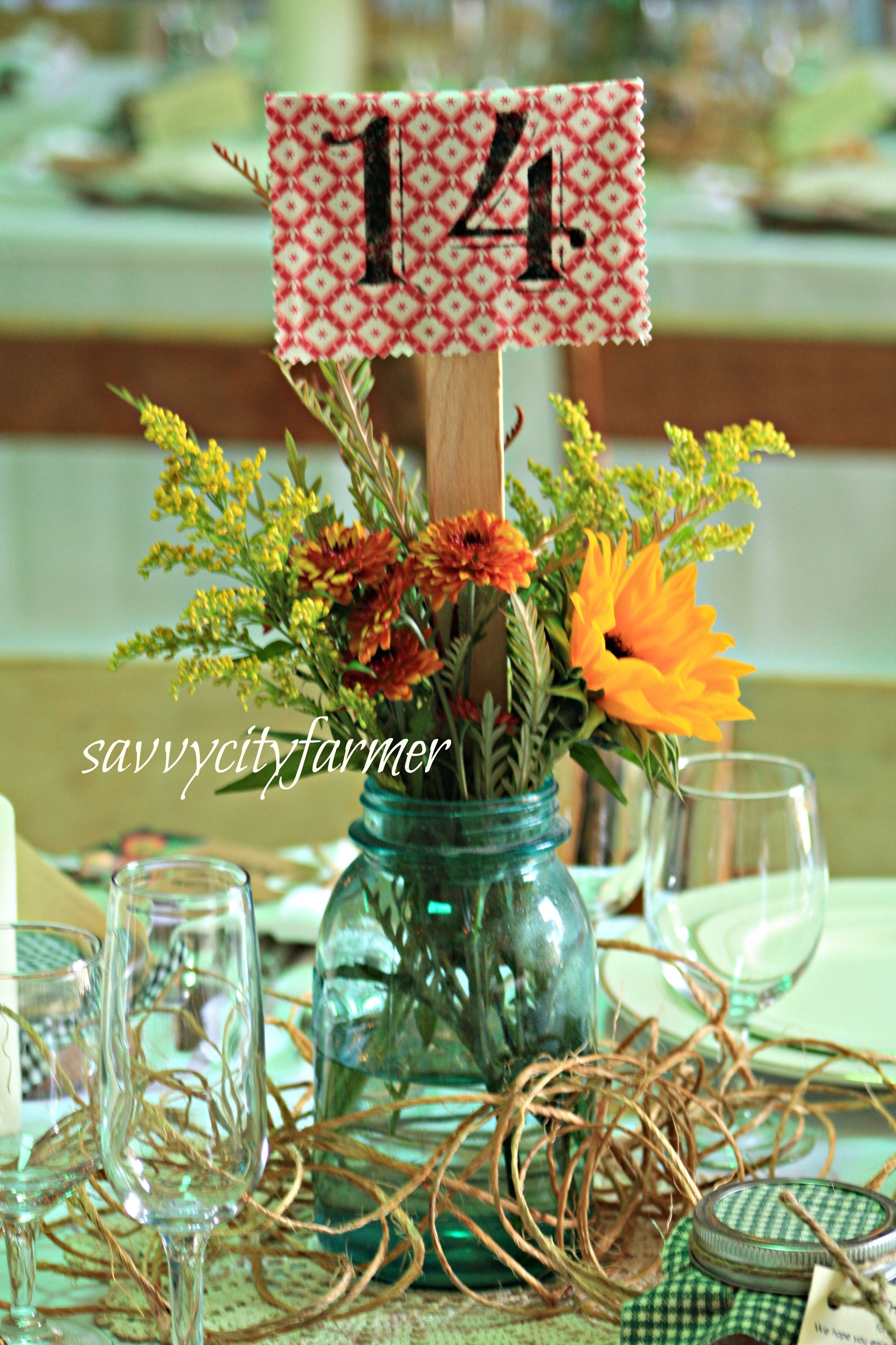 Wedding table numbers these could be cute with material that fits