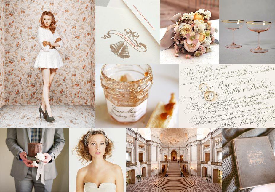 Mood: playfully elegant romance  Palette: dusty rose and peach, gray velvet, warm cream  via Snippet & Ink