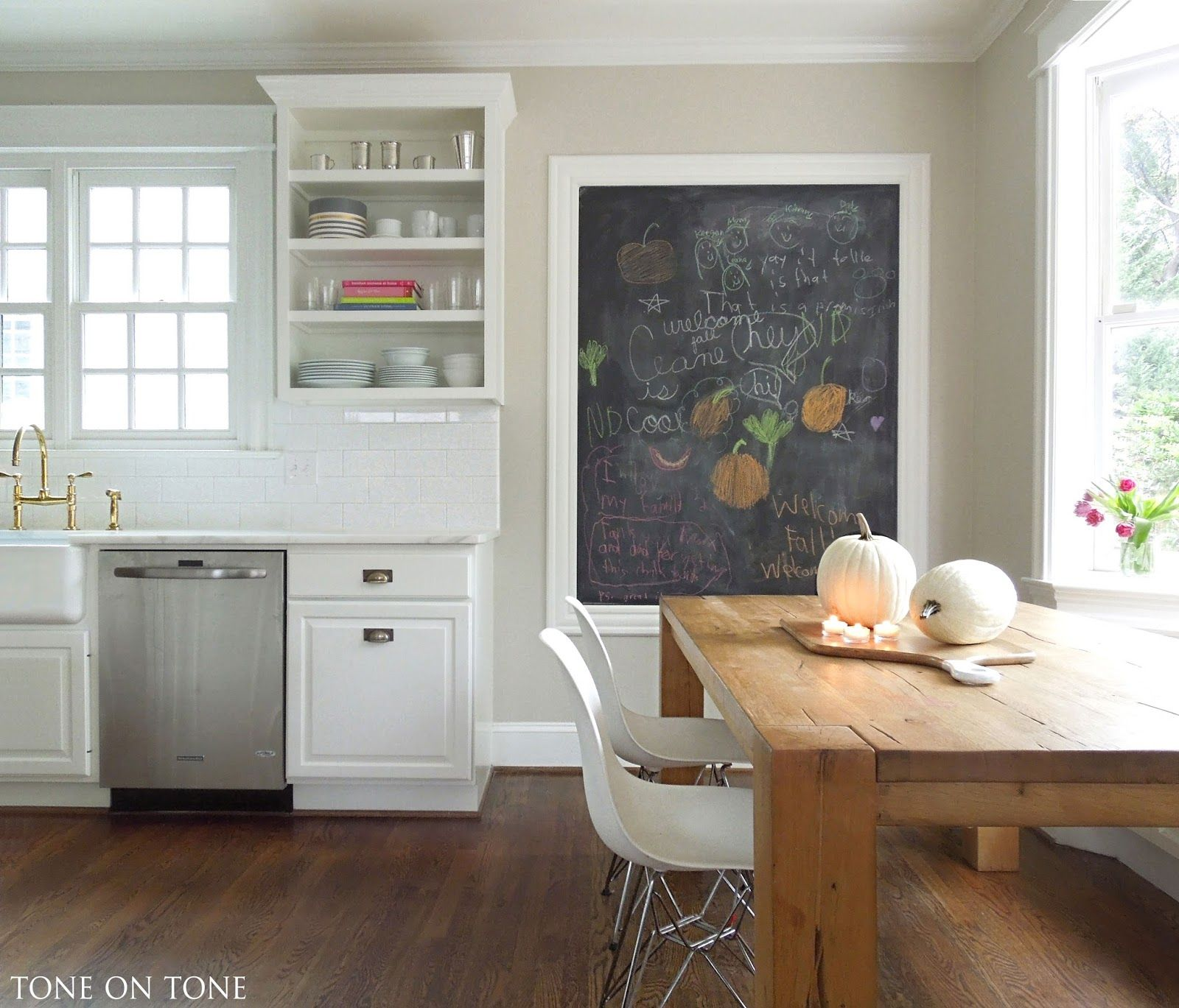 What Color To Paint Kitchen Walls: Cabinets Painted BM Simply White. Wall Behind Island Is