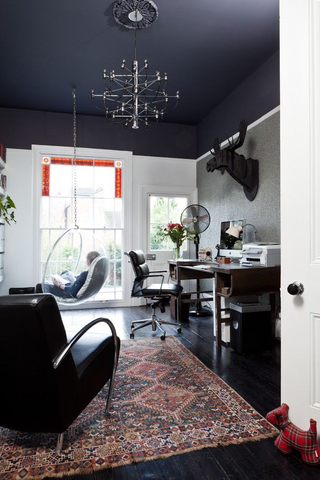 Sumptuous Ceiling Fan Globes In Home Office Transitional With Pictures Of Bungalow Homes Next To Black Leather Sofa Ideas Alongside Painted And Warm