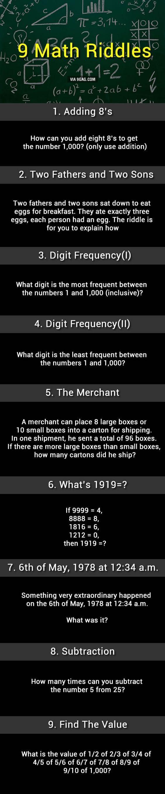 9 Math Riddles, Can You Solve Them? Math riddles, Math