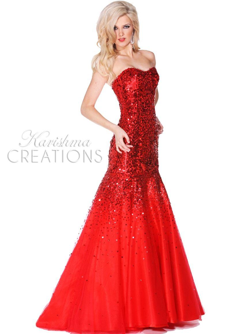 Karishma 3276 Red Strapless Sequin Mermaid Prom Dresses Online Thepromdresses Sequin Evening Gowns Unique Prom Dresses Prom Dresses Long [ 1156 x 826 Pixel ]