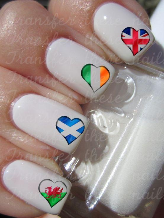 30 Heart Flag Nail Art Water Transfers English British Irish ...
