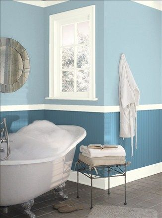 Soothing Master Bath Upper Wall Color Blue Stream Lower Wall
