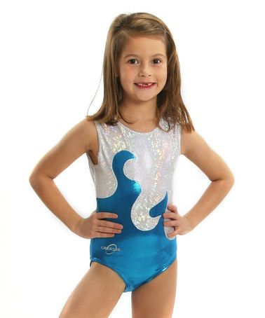 cf0162472dda This White   Turquoise Foil Waves Leotard - Toddler   Girls is ...