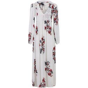Yoins Loose See-through Chiffon Random Floral Pattern Maxi Dress