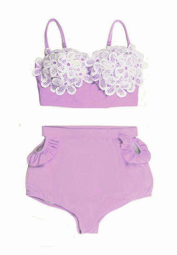 f921e16c54f94 Lavender Pastel Lace Daisy Sakura set Top and High Waisted Waist High-waist  Shorts Bottom Swimsuit Swimwear Swim Bikini 2PC Bathing suit S M