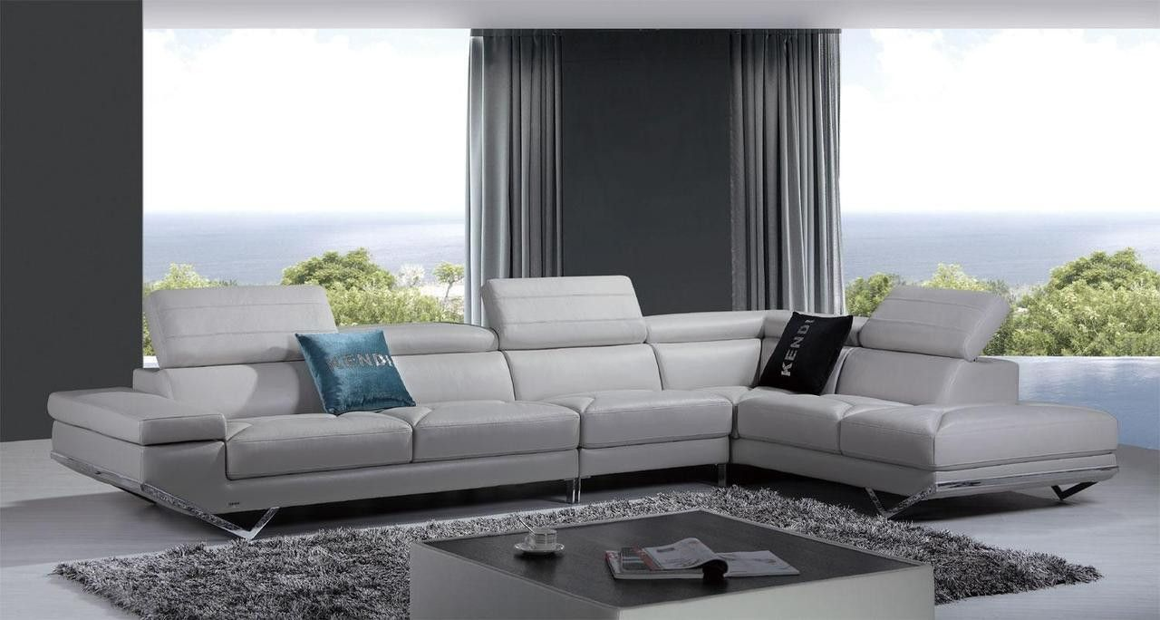 Vig Divani Casa Quebec Modern Light Grey Italian Leather Sectional Sofa For 3649 Contemporary Sectional Sofa Leather Couches Living Room Modern Sofa Sectional