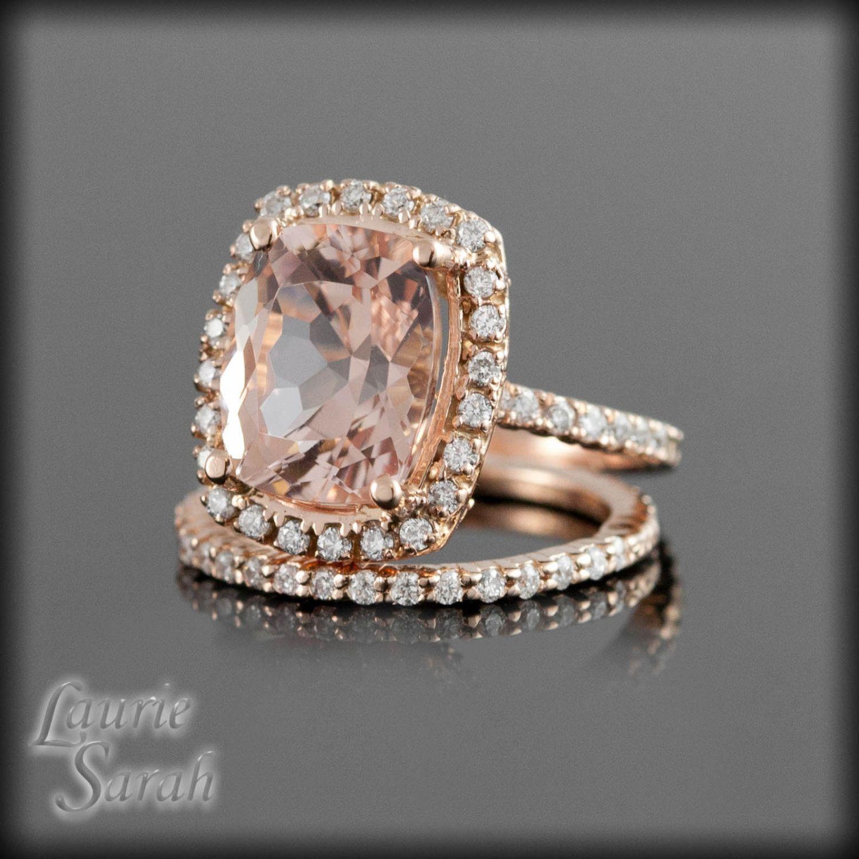 Rose Gold Morganite Engagement Ring Set with Prong Set Diamond Wedding Band