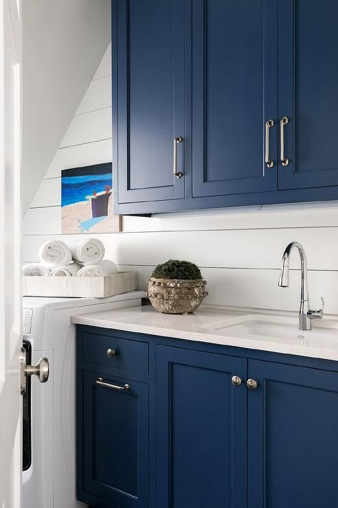 Blue Shaker Laundry Cabinetry Home Redo Ideas Blue Kitchen