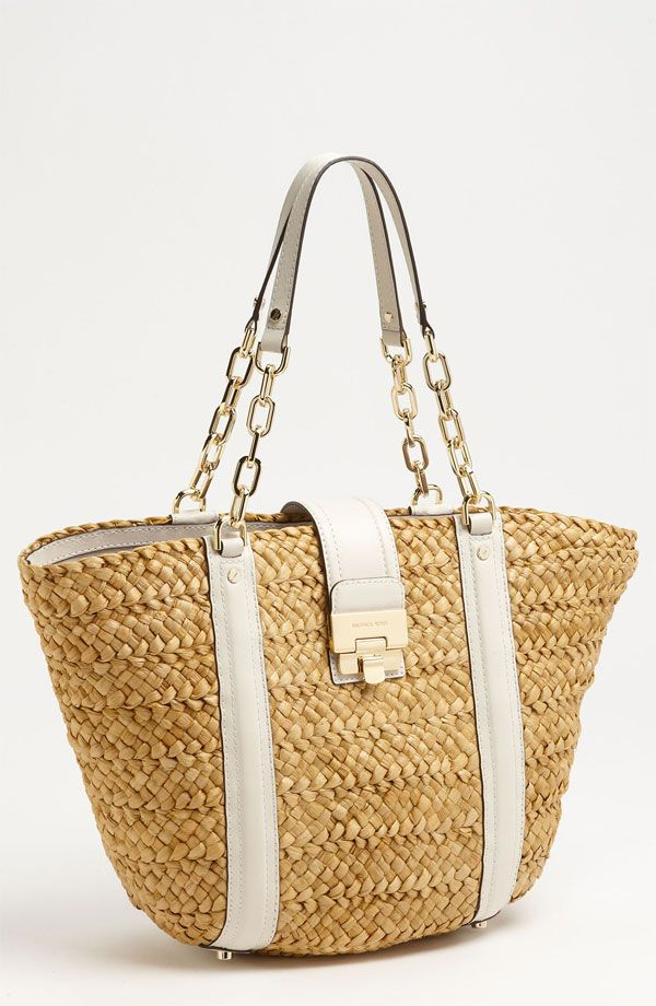 cf85df452edf Michael Kors 'Deneuve - Large' Straw Tote | Swimwear | Bags, Michael ...
