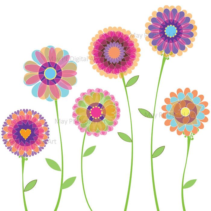 Spring Flowers Clip Art Digital Florals Graphic To Make Birthday