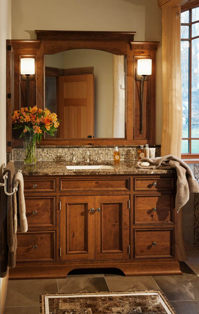 Stunning Camp Interior For Your Summer Holiday : Chic Traditional Bathroom  Design Wooden Vanity Adirondack Camp