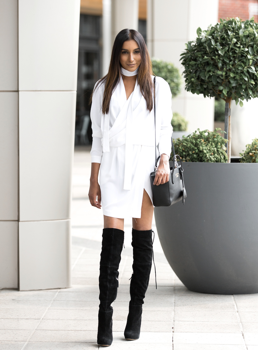 90e0d2b58d3 Vydia wears the thigh high boots style in collaboration with the monochrome  trend here