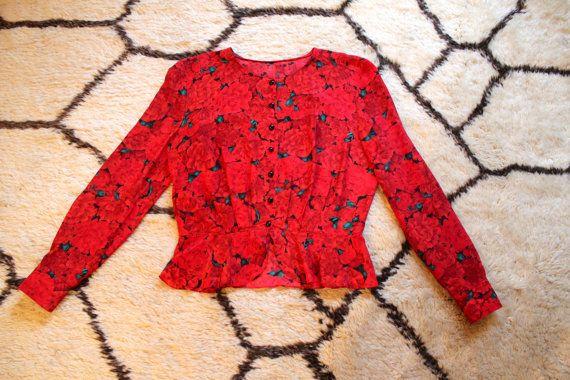 Pino Lancetti Fashion Stylist s80' Silk Red Flower di NinaCurious