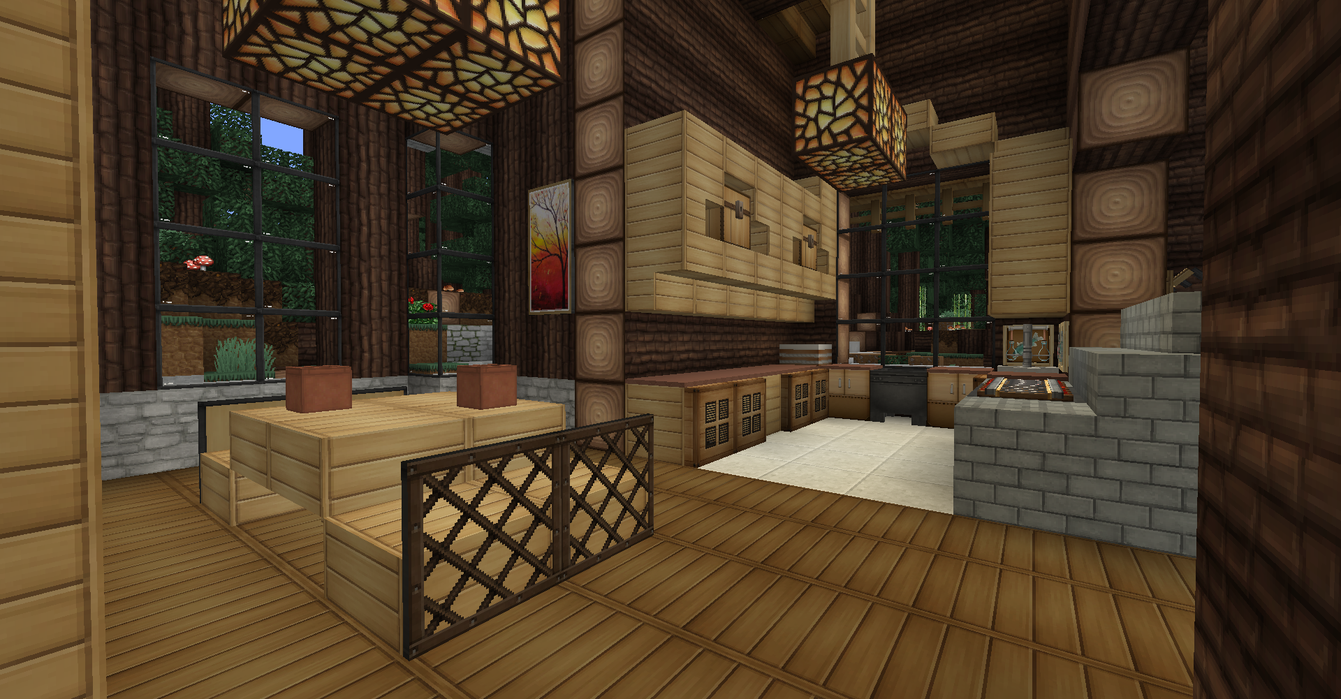 minecraft survival  log cabin  interior  dining room  kitchen. minecraft survival  log cabin  interior  dining room  kitchen