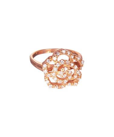 Cubic Zirconia & Rose Goldtone Flower Ring by REL Jewelers #zulily #zulilyfinds