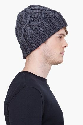 Moncler Grey Cable Knit Beanie Ssense Grey Cable Knit Knit Beanie Knitted Hats