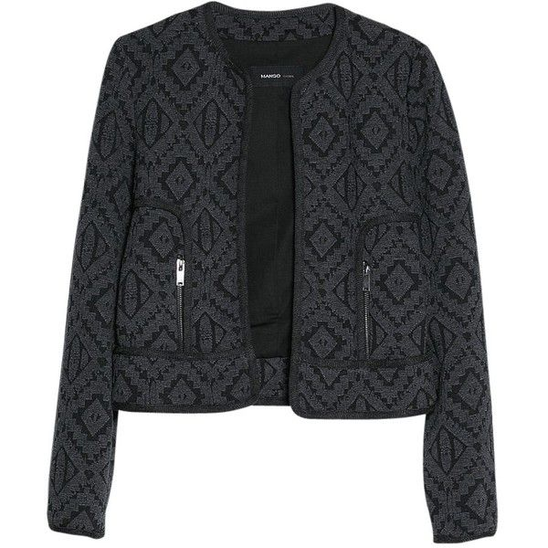 Mango Ethnic Cotton Blend Jacket, Black (125 BRL) ❤ liked on Polyvore featuring outerwear, jackets, blazer, long sleeve jacket, zip jacket, long sleeve blazer, blazer jacket and embellished jacket