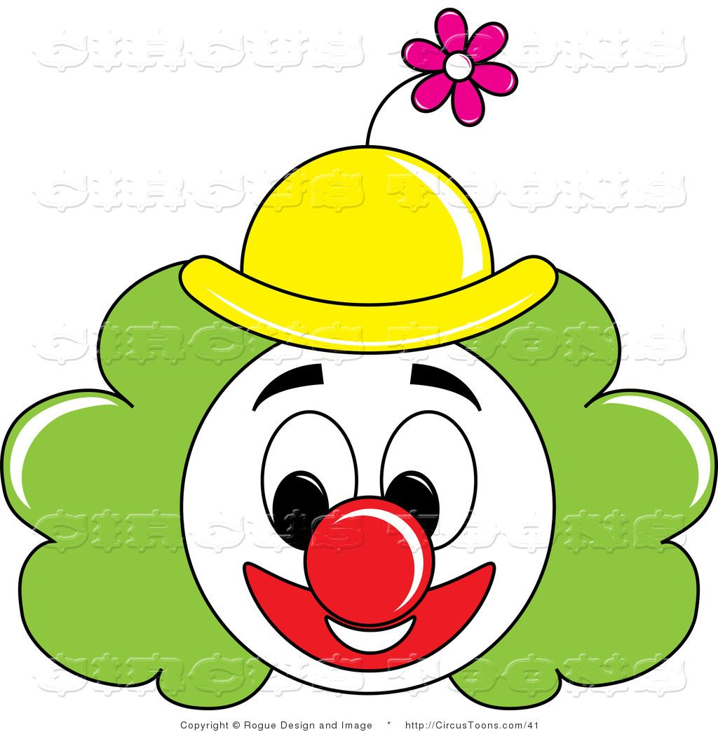 Circus Clipart of a Grinning Painted Clown Face with Green Hair ...