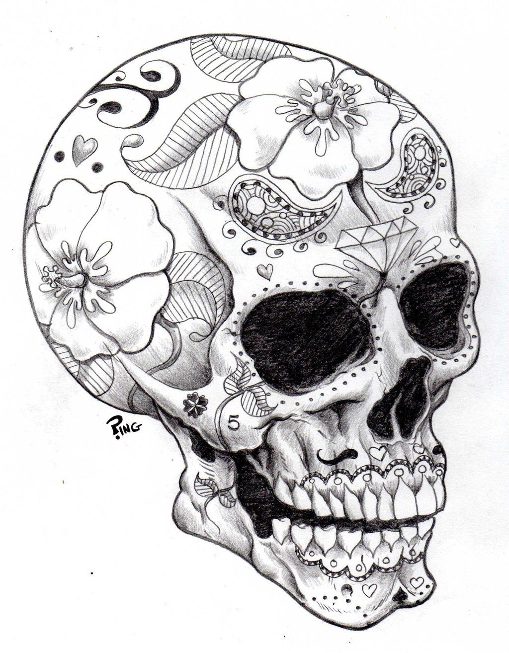 Skull Drawings | sugar skull ping by pingriff traditional art ...