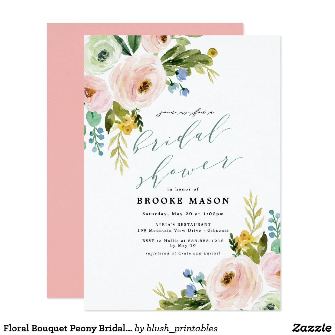 Floral Bouquet Peony Bridal Shower Invitation First comes love, then ...