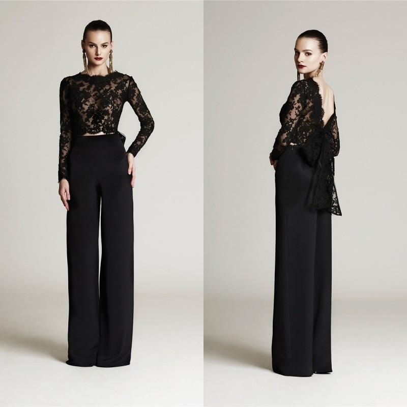 Mother Of The Groom Suit Elegant 2015 Black Lace Mother Of The Bride Pant Suits Chiffon Jewel ...