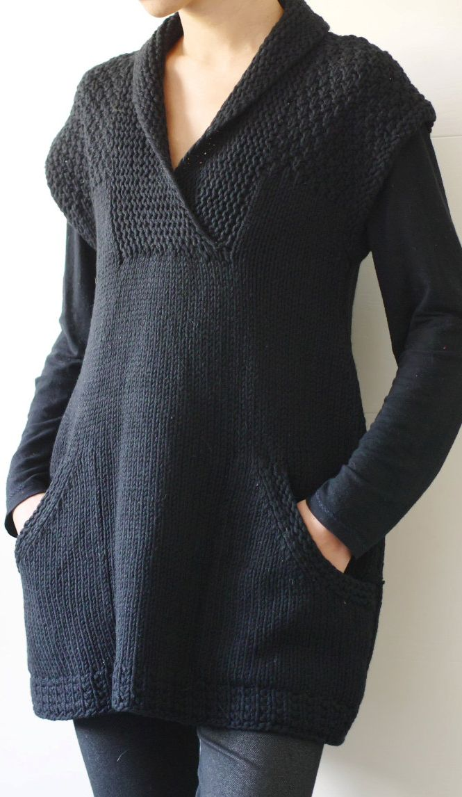 b19a5d4149 Knitting Pattern for Ebony Sleeveless Tunic -  ad I love the shawl front  wrap collar and textured yoke - plus pockets! This is actually a sleeveless  vest.