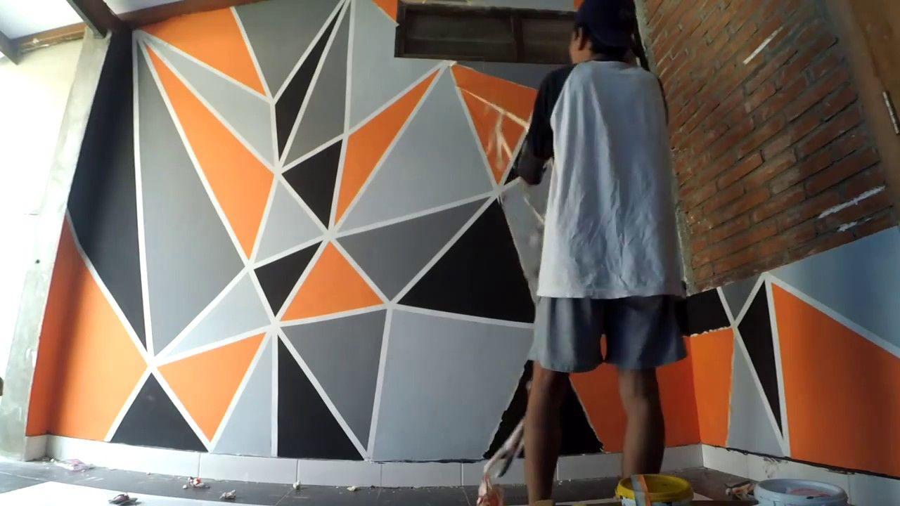 Cara Mengecat Kamar Dengan Motif Geometric Dinding Lukisan Dinding Diy Cat Dinding Geometris