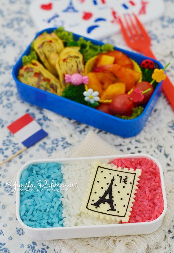 Bonita's Cooking & Bento Wonderland: French-Themed Bentos: Hello France and Eiffel Tower Postage Stamp Bentos