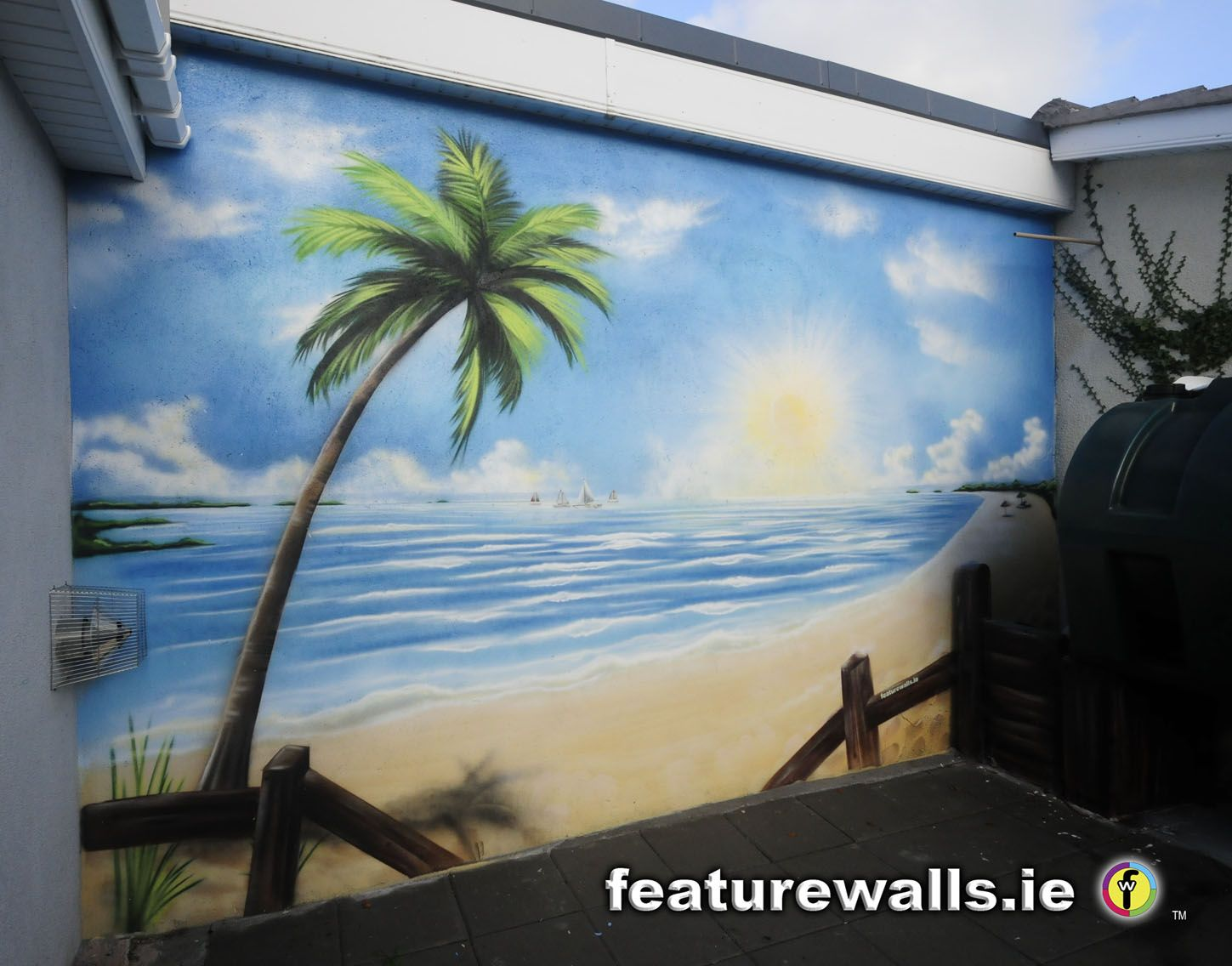 Outdoor beach murals mural painting professionals for Beach scene mural