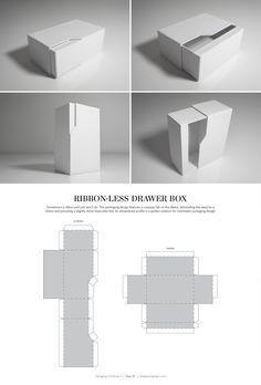 다양한 패키지 디자인 Ribbon-Less Drawer Box – structural packaging design dielines