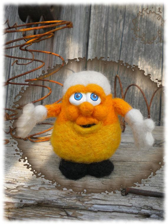 OOAK Needle Felted Wool Corny the Candy Corn by RustyTheHermit, $28.95
