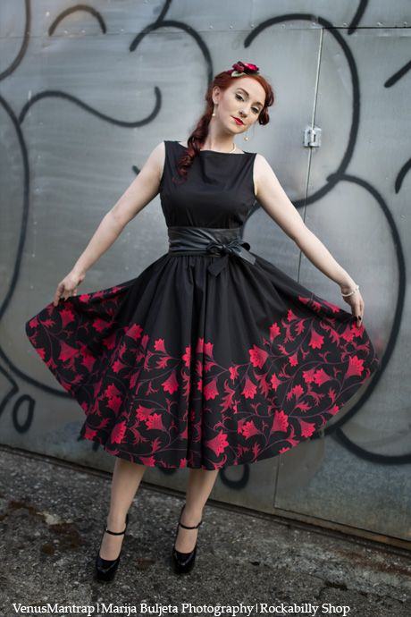 Dorothy Black Rockabilly Dress with Red Flowers Dress Design by Amber  Middaugh 803e997fcbb5