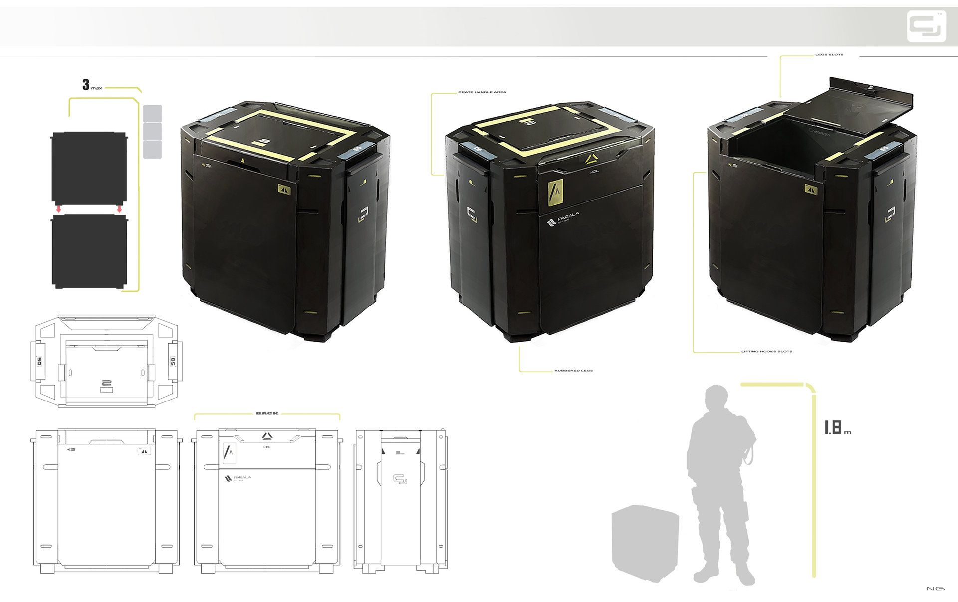 Deus Ex 3 inspired crate design. It's done in precise 3 point perspective by hand.