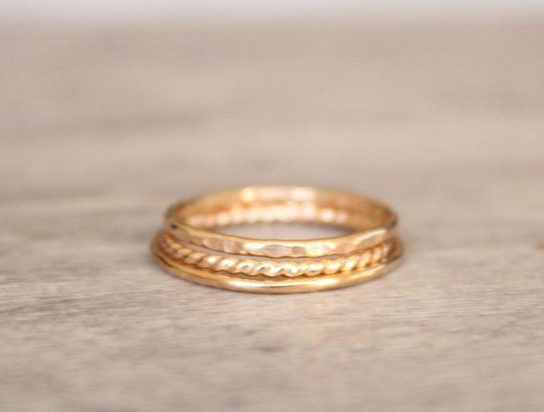 14k Gold Filled Stacking Rings Set Of 3 Simple 14k Gold Filled Stacking Rings Gold Rope Twist Ring Gold Spacer Rings Gold Ring Stack Stacking Ring Set Ring Spacer