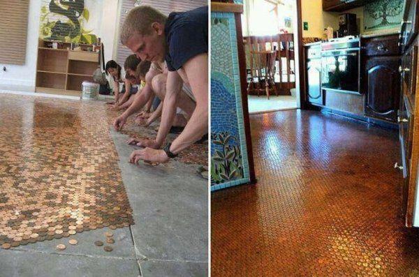 Fußboden Mit Centstücken ~ Ein fußboden aus centstücken bauen handwerken