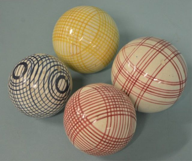 Lot Of 4 Victorian Scottish Ceramic Carpet Marbles Carpet Bowls Ceramics Carpet