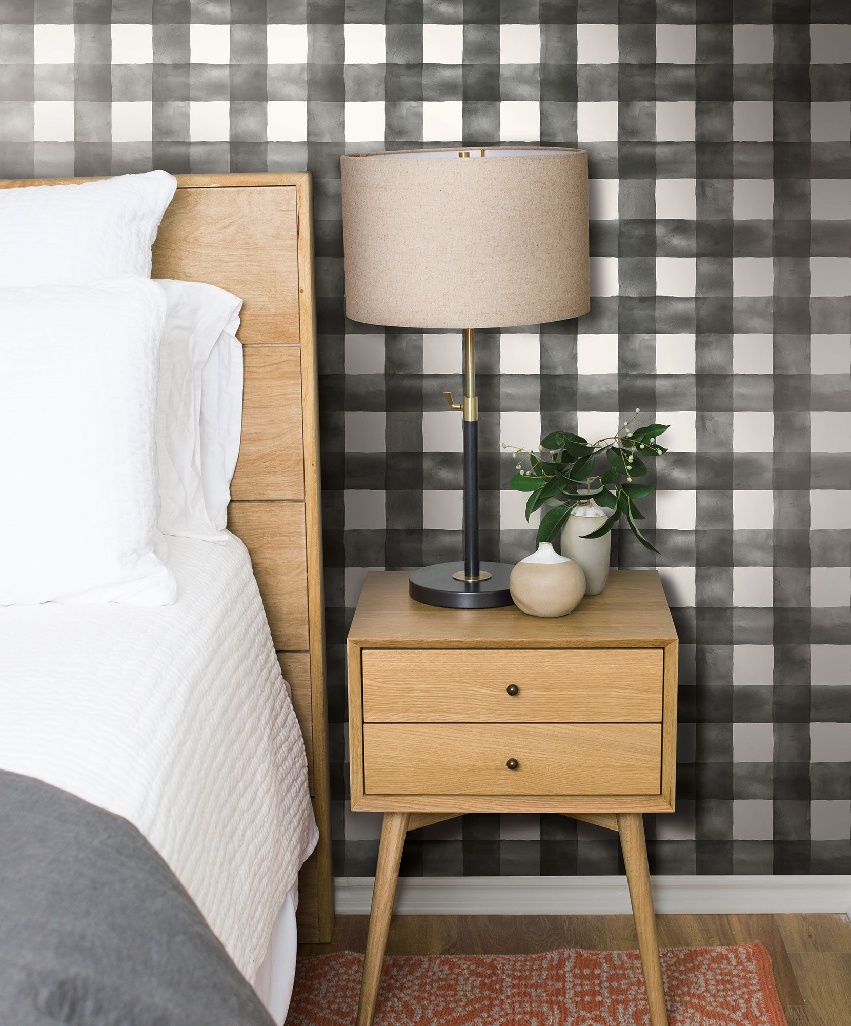 Magnolia Home Watercolor Check Wallpaper Black & White