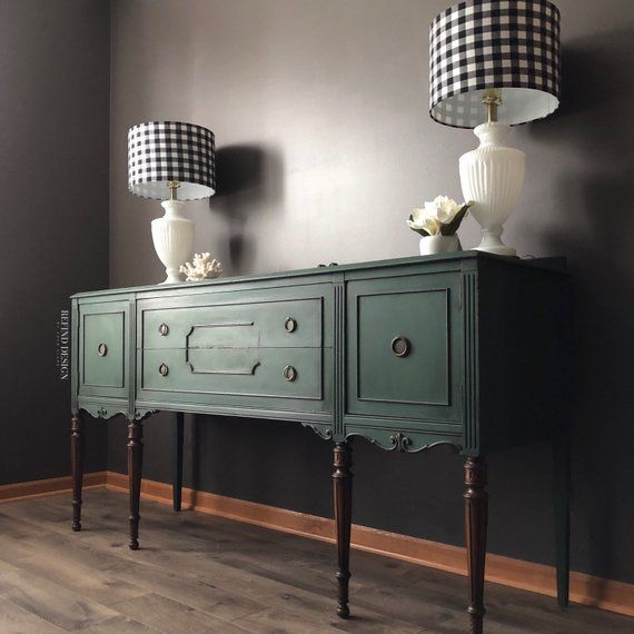 Modern Victorian Dining Room: SOLD-Victorian Buffet, Green Modern Sideboard, Traditional