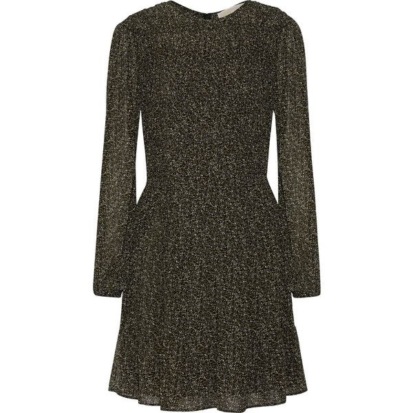 Cole Smocked Printed Chiffon Dress - Dark green Michael Kors Zm04EwN7e