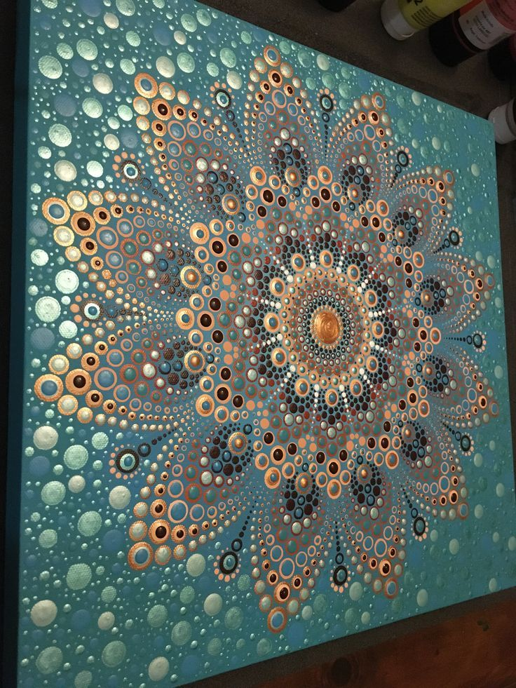 Dot painting ocean flower inspired by the original design « Metavivor turquoise…