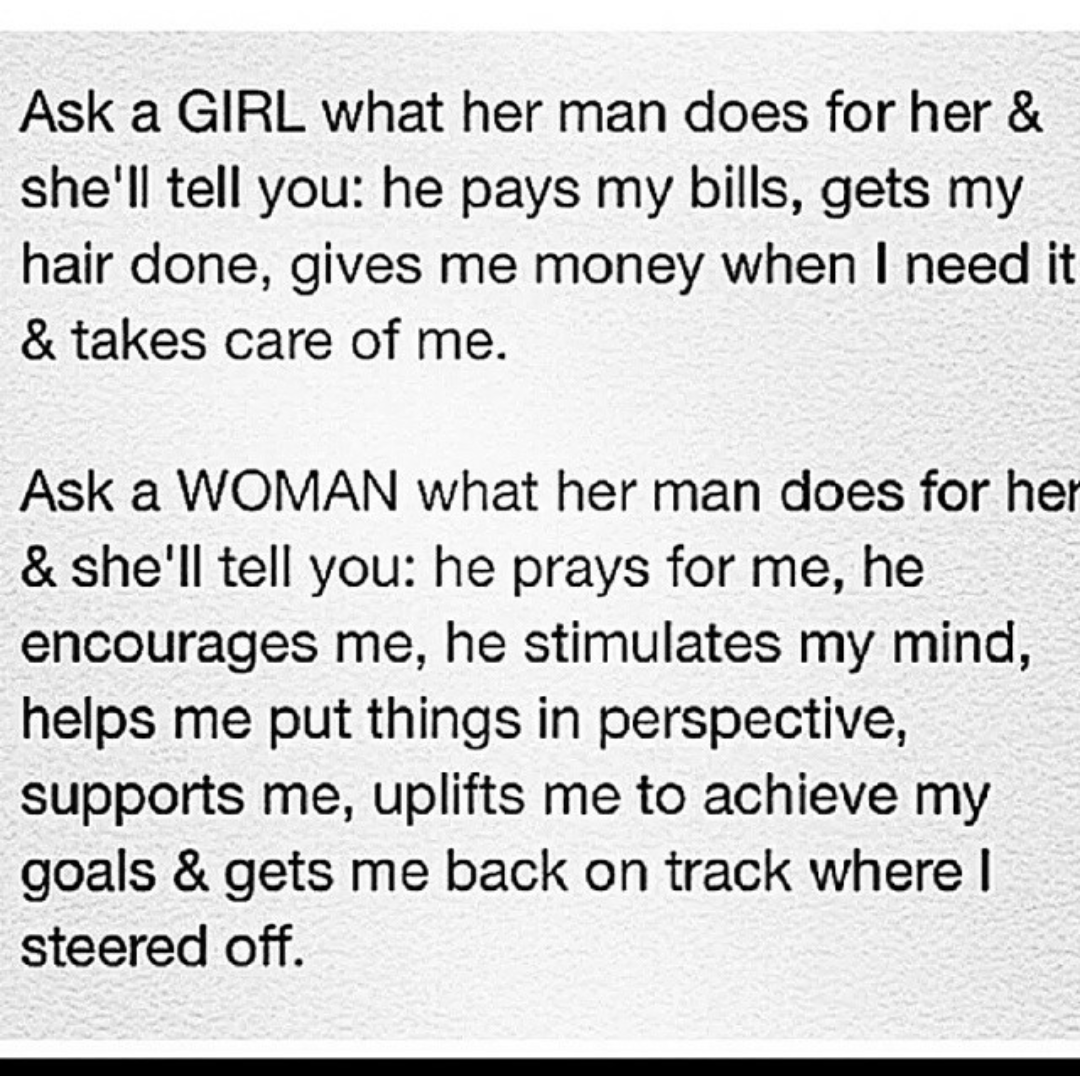 That is the difference between a boy and a man