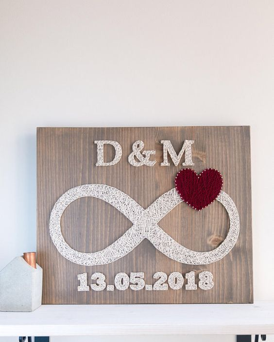 Custom date and initials infinity string art, infinity love symbol wall decor, wedding date initials