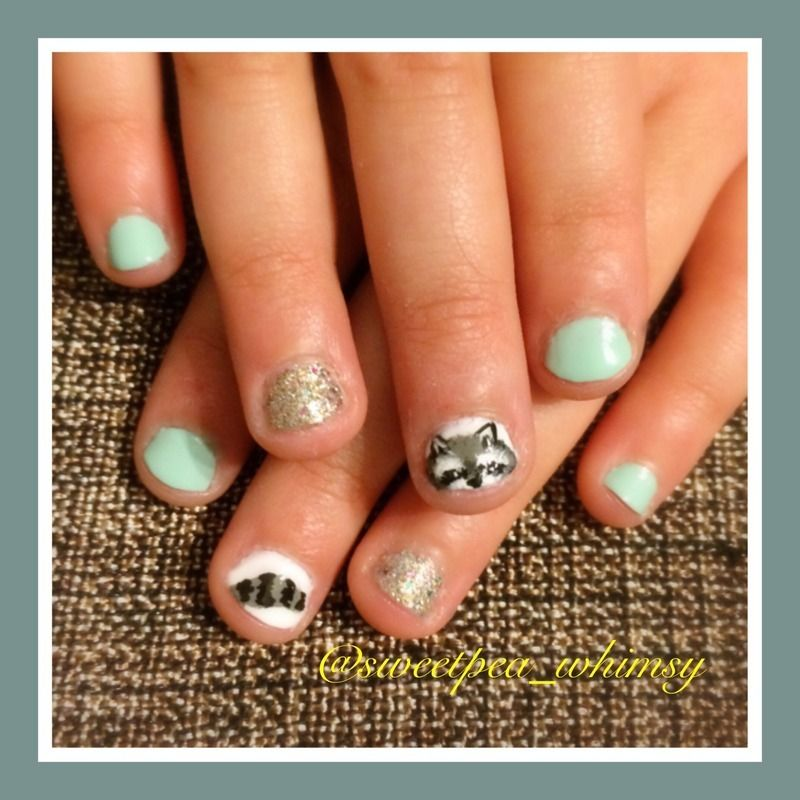 Nailpolis Museum of Nail Art | Raccoon Kids Nails by SweetPea_Whimsy