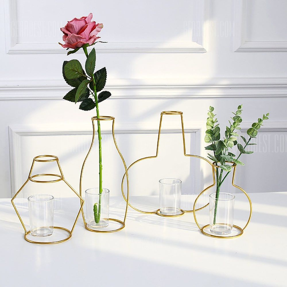 Only 12 13 Buy Gold Iron Shelf Flower Elegant Vase With Glass Cup For Home Garden Decor At Gearbest Store Wit Elegant Vases Glass Flower Vases Sale Decoration