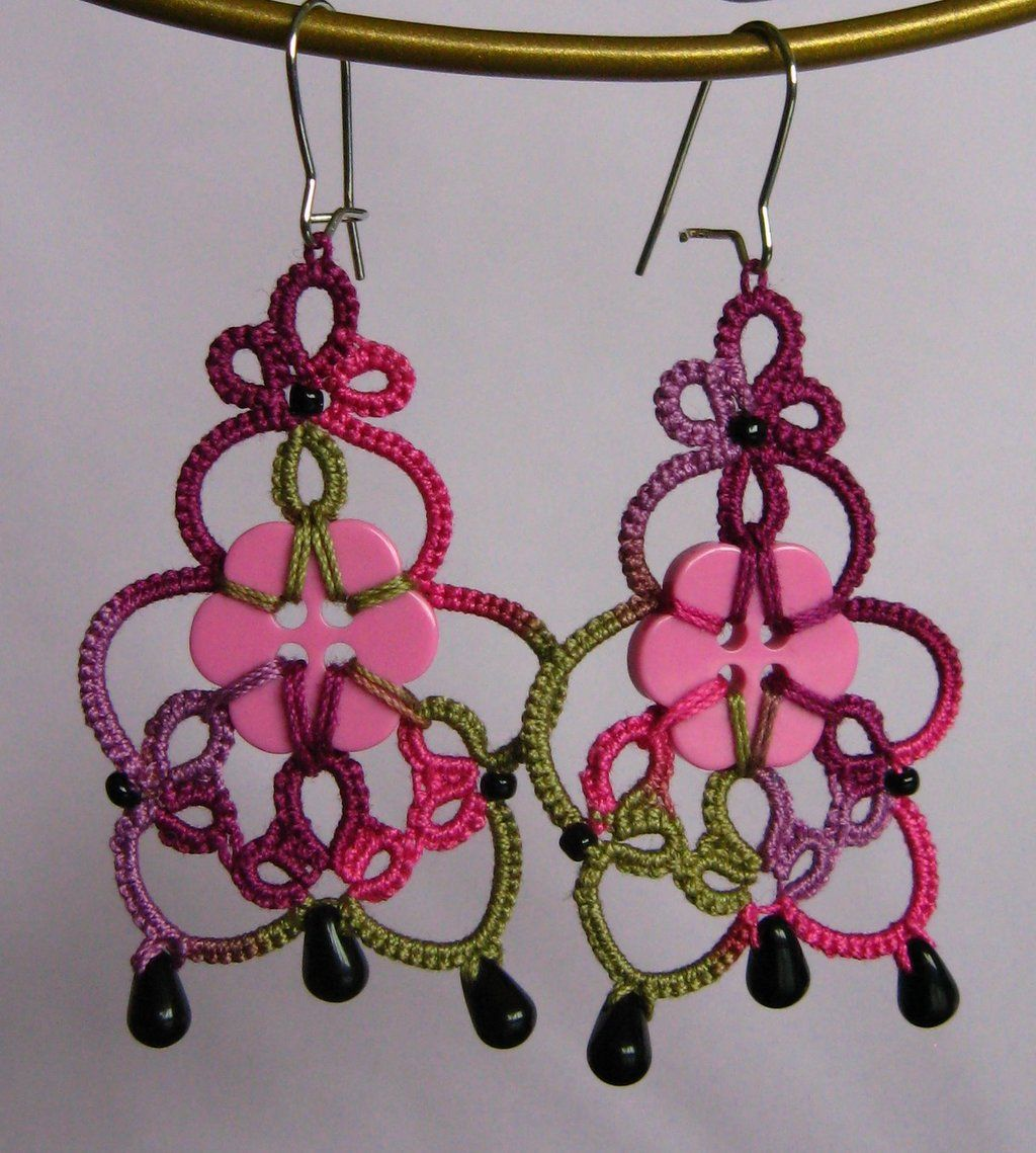 Quirky earrings with buttons and handmade tatted lace ...