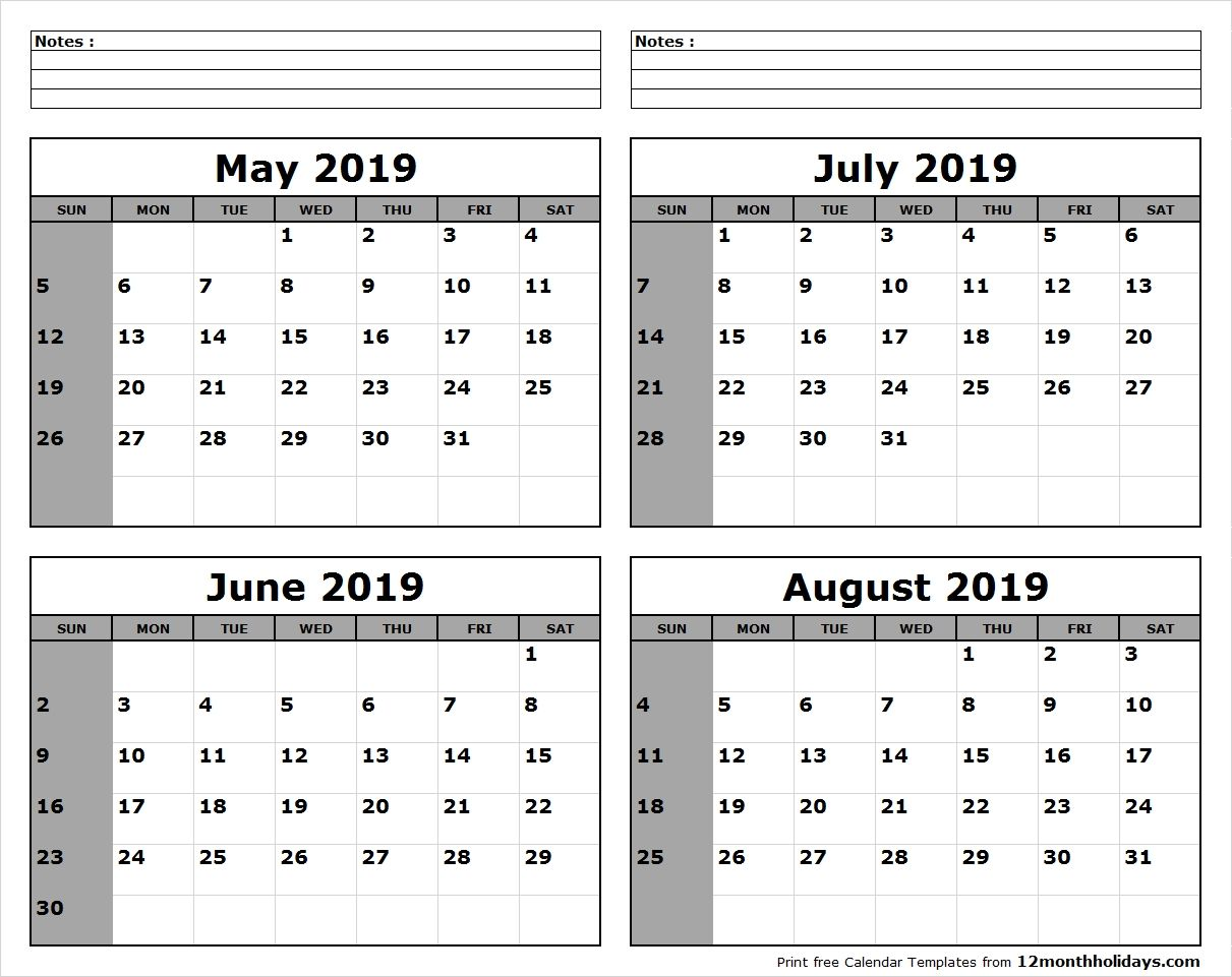 June July August 2019 Calendar Printable.May June July August 2019 Calendar To Print All 12 Month Calendar